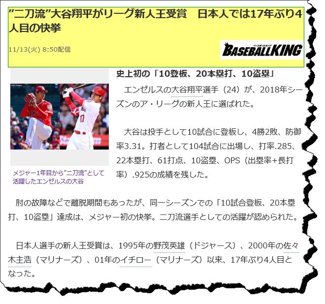 大谷翔平選手の新人王受賞のニュース